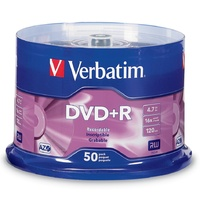 DVD+R Plus Recordable Verbatim 4.7GB 16X Speed 95037 Spindle 50
