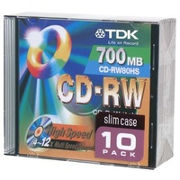 CD Rewritable TDK 80 Minute Pack 10 YK100101177