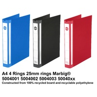 Ringbinder A4 4/26/D Marbig Deluxe 50040 200 page Enviro Colours