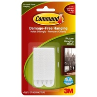 Command Adhesive Picture Hanging Strips 17201 Medium 3M ID XA006700562 white 4 strips