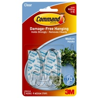 Command Adhesive Hook Medium Clear 17091CLR 3M ID XA006701578 2x hooks 4x strips
