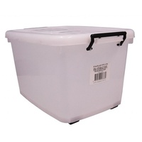 Storage Box Italplast 55 Litre Clear with Lid & Rollers I424