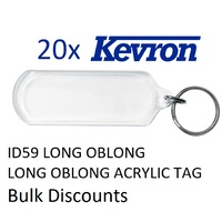 Key Tag Long Oblong Acrylic Kevron ID59 bag 20 tag 80x28mm Insert 65x23mm These tags do not include inserts
