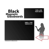 Magnetic Glassboard Black Glass 1800 x 120 VGB1812B - each