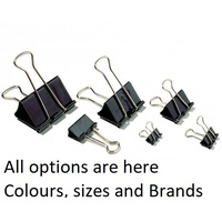 Foldback clips, all sizes colours and variation 15, 19, 25, 32, 41, 50mm sizes