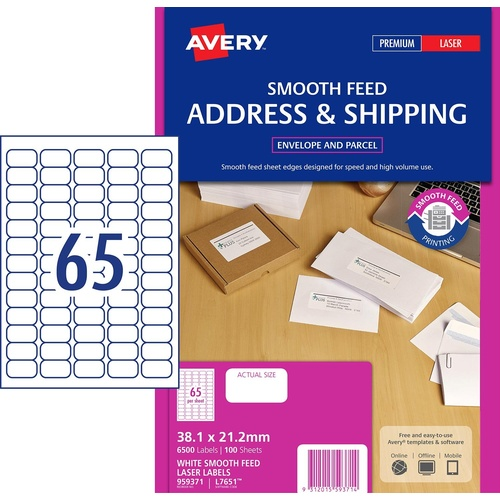 Label Avery Laser L7651 65 Per Sheet 38mm X 21mm Smooth Feed 959371