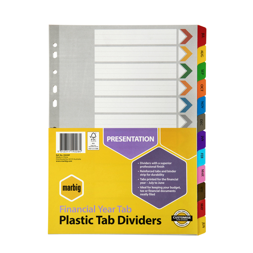Dividers A4 Financial Year Reinforced Marbig 35039 - each set