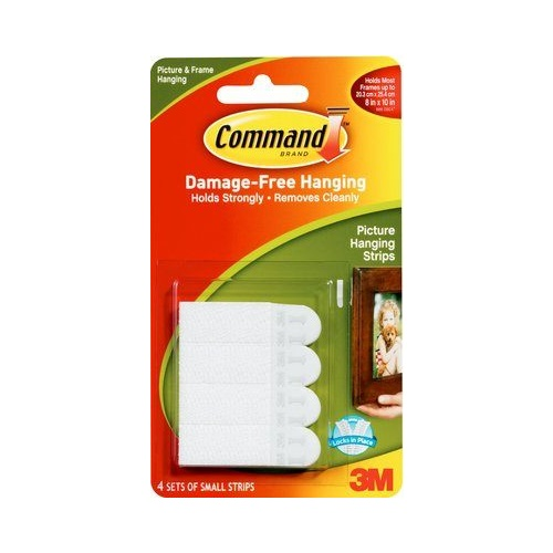 Command Adhesive Picture Hanging Strips 17202 Small 3M ID XA006700554 White 4 pack 1.8kg